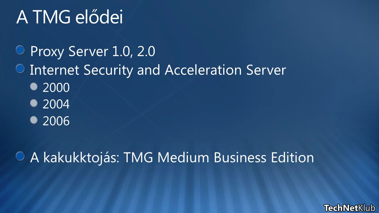 A TMG elődei Proxy Server 1.0, 2.0