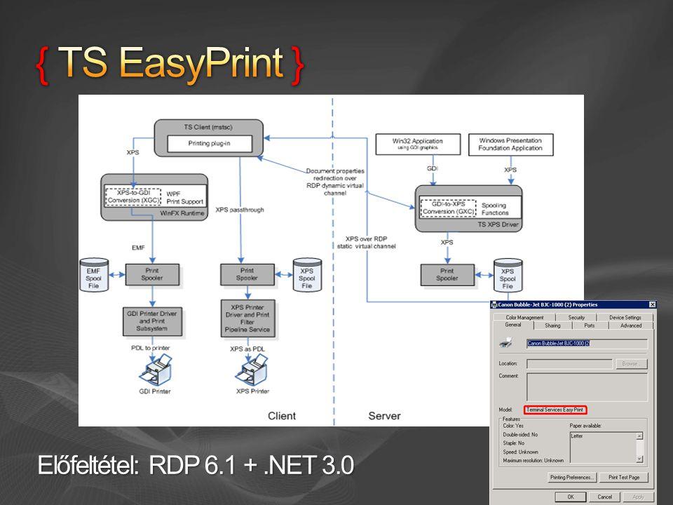 { TS EasyPrint } Előfeltétel: RDP 6.1 + .NET 3.0