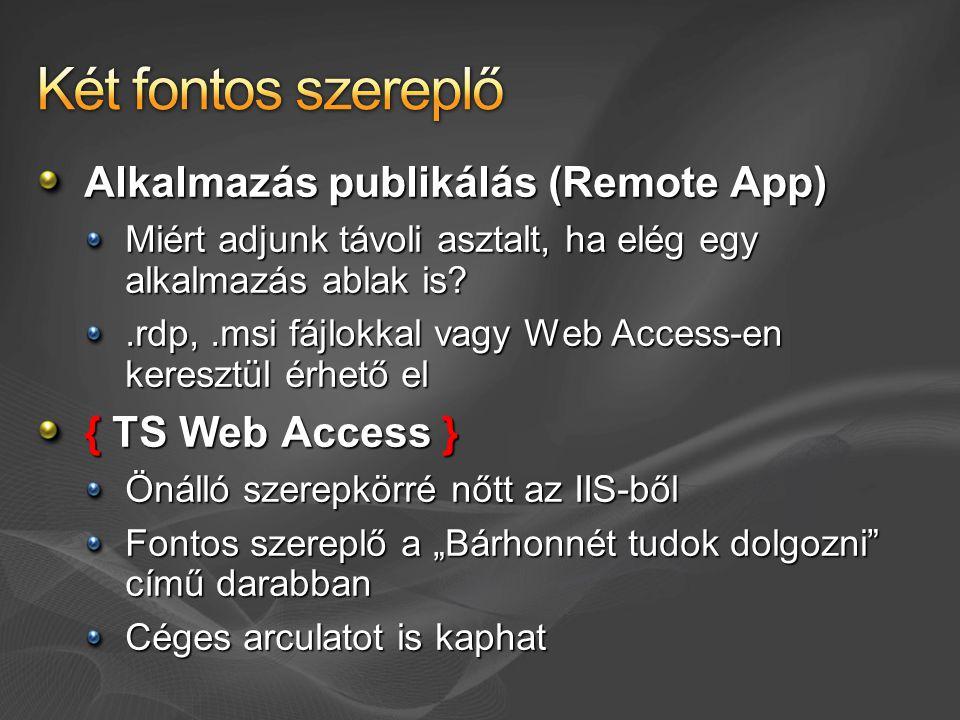 Két fontos szereplő Alkalmazás publikálás (Remote App)