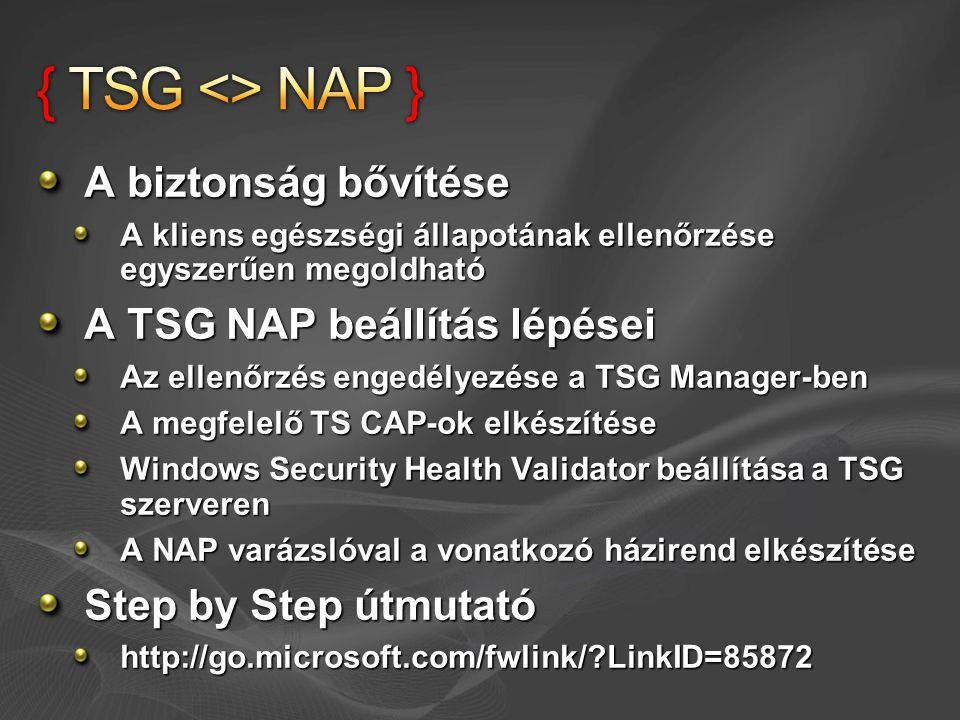 { TSG <> NAP } A biztonság bővítése A TSG NAP beállítás lépései