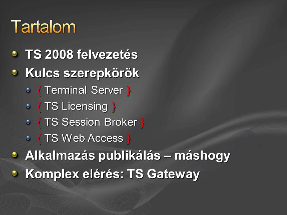 Tartalom TS 2008 felvezetés Kulcs szerepkörök