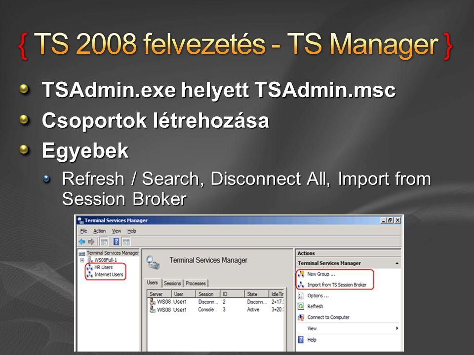 { TS 2008 felvezetés - TS Manager }