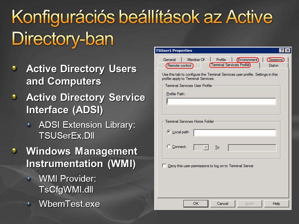 Konfigurációs beállítások az Active Directory-ban