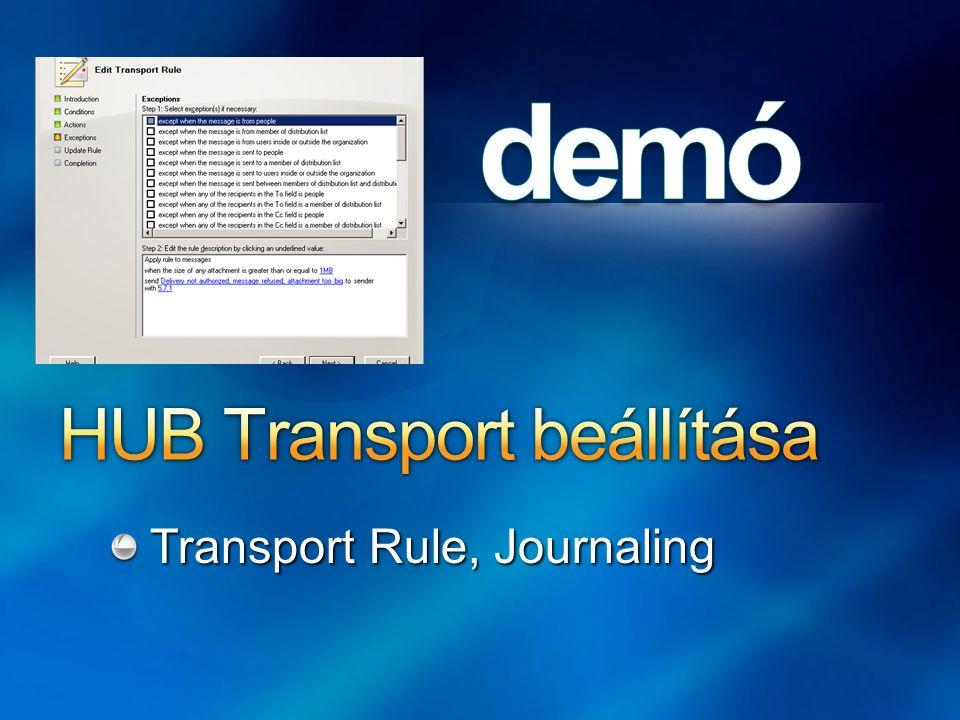 HUB Transport beállítása