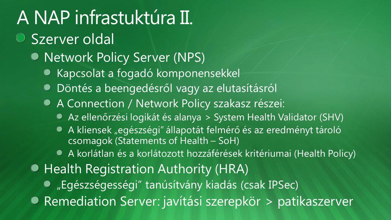 A NAP infrastuktúra II. Szerver oldal Network Policy Server (NPS)