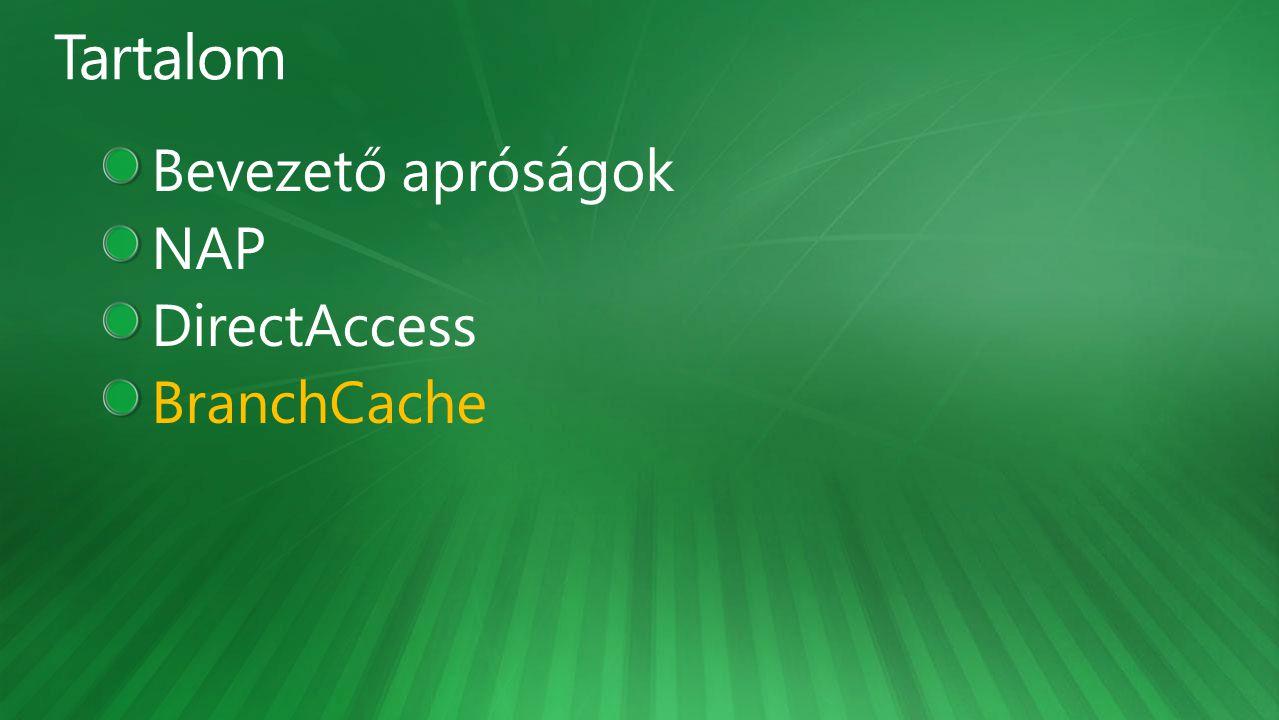 Tartalom Bevezető apróságok NAP DirectAccess BranchCache