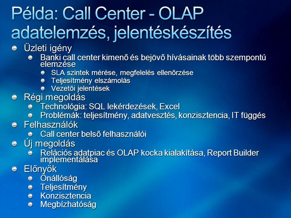 Példa: Call Center - OLAP adatelemzés, jelentéskészítés