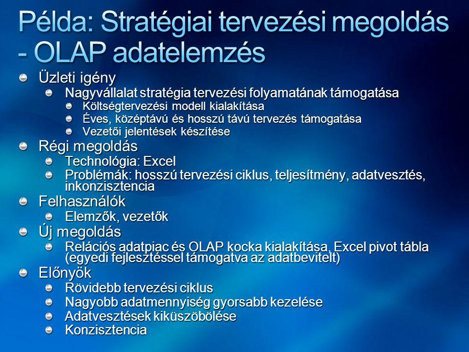 Példa: Stratégiai tervezési megoldás - OLAP adatelemzés