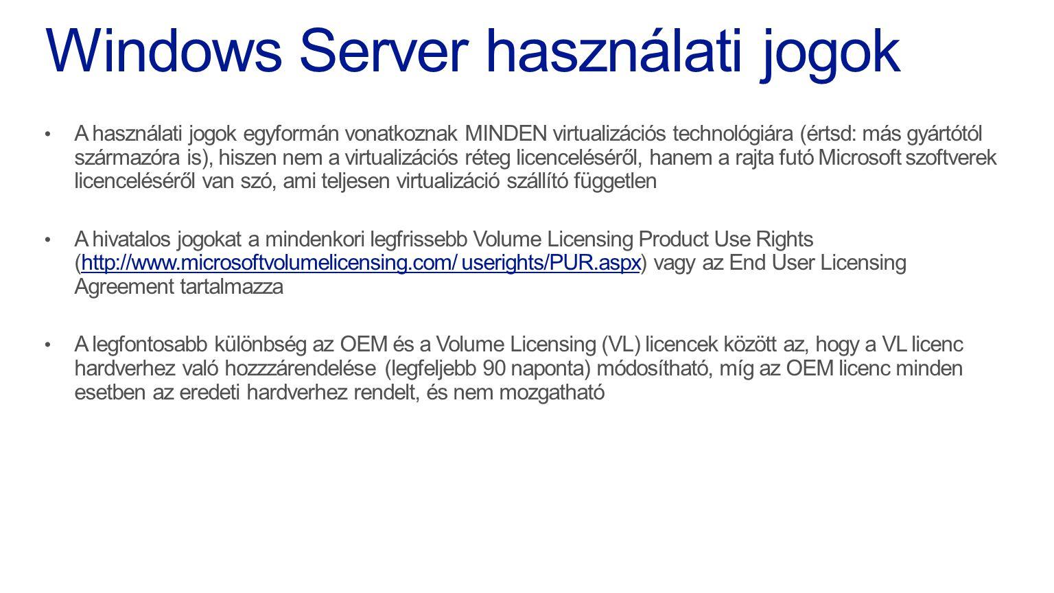 Windows Server használati jogok