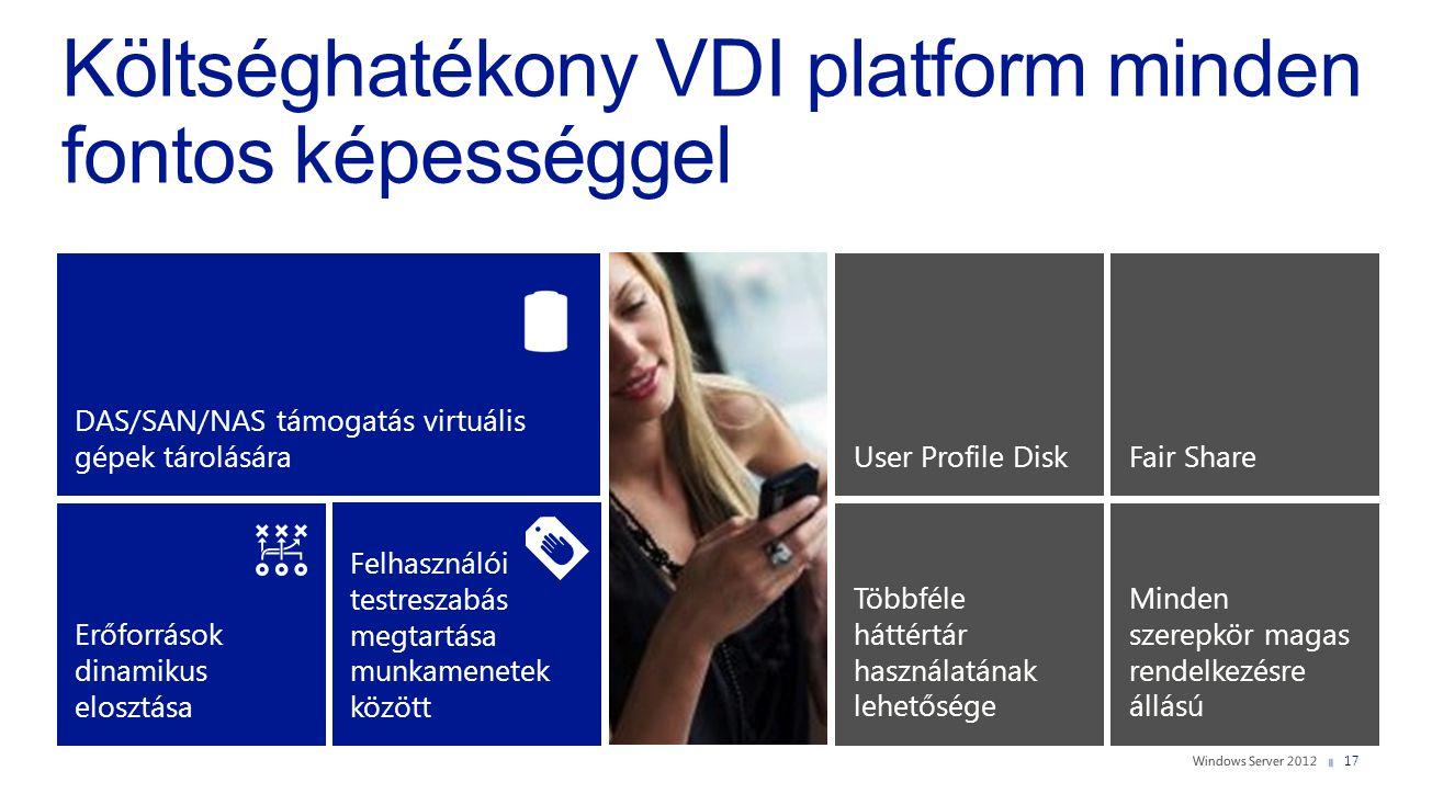 Költséghatékony VDI platform minden fontos képességgel