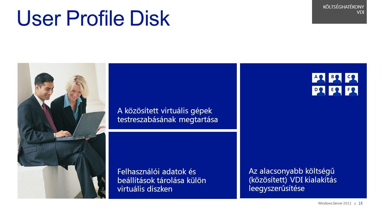 KÖLTSÉGHATÉKONY VDI User Profile Disk. A közösített virtuális gépek testreszabásának megtartása.