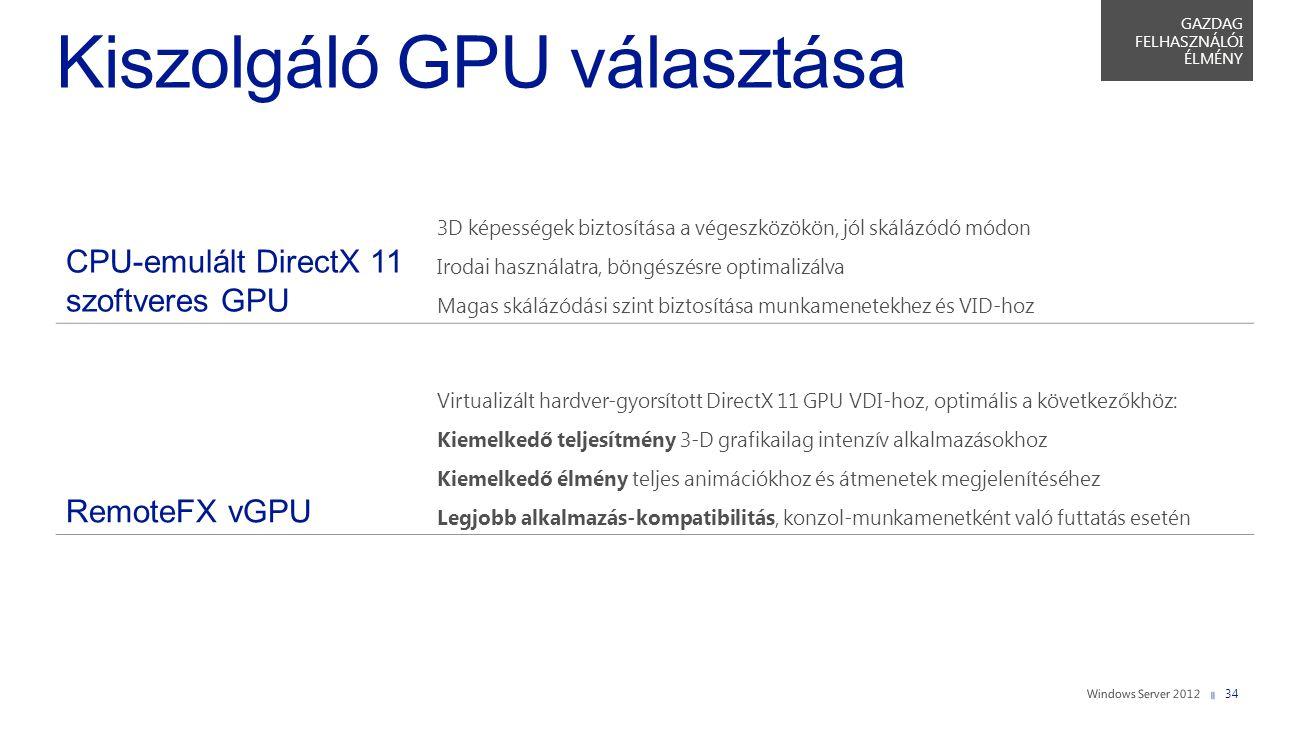Kiszolgáló GPU választása