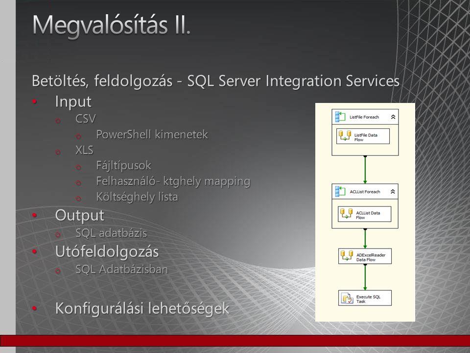 Megvalósítás II. Betöltés, feldolgozás - SQL Server Integration Services. Input. CSV. PowerShell kimenetek.