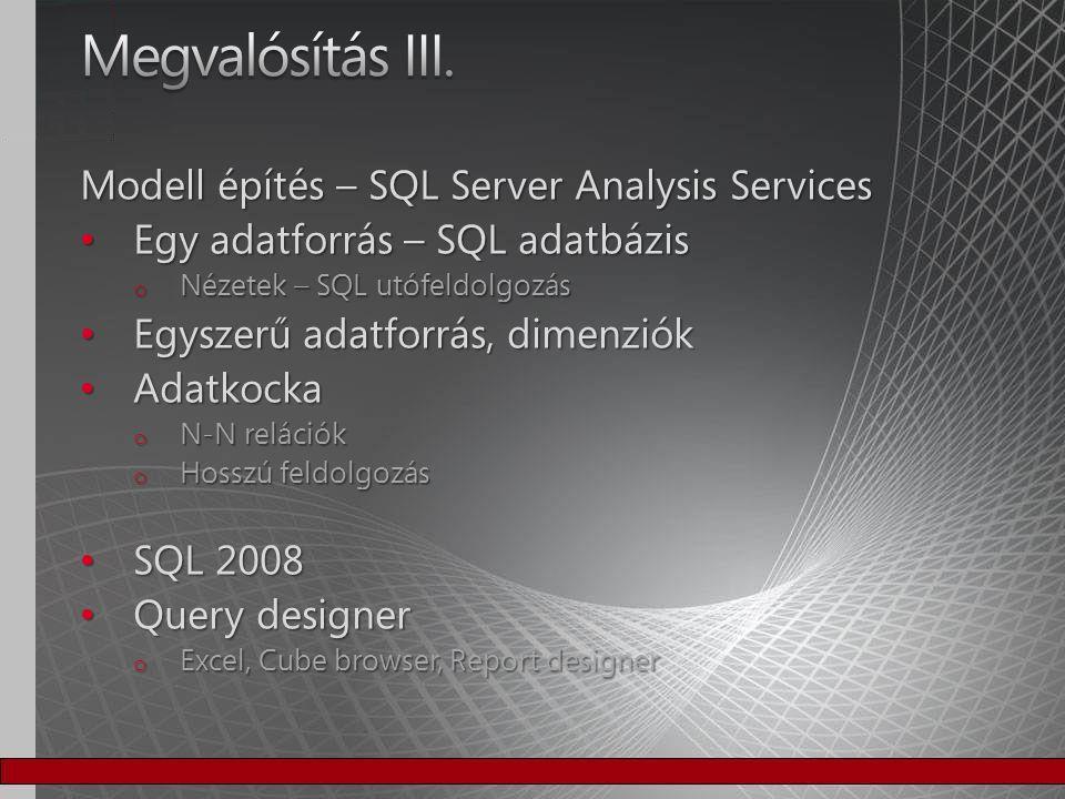 Megvalósítás III. Modell építés – SQL Server Analysis Services