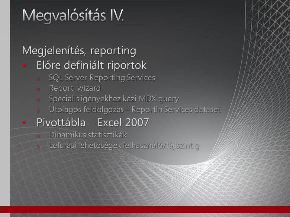 Megvalósítás IV. Megjelenítés, reporting Előre definiált riportok