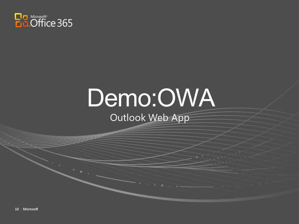 Demo:OWA Outlook Web App 4/4/2017 7:09 PM 10 | Microsoft
