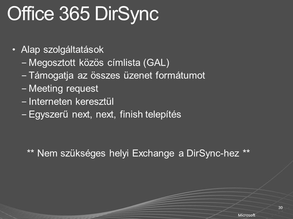 Office 365 DirSync Alap szolgáltatások Megosztott közös címlista (GAL)