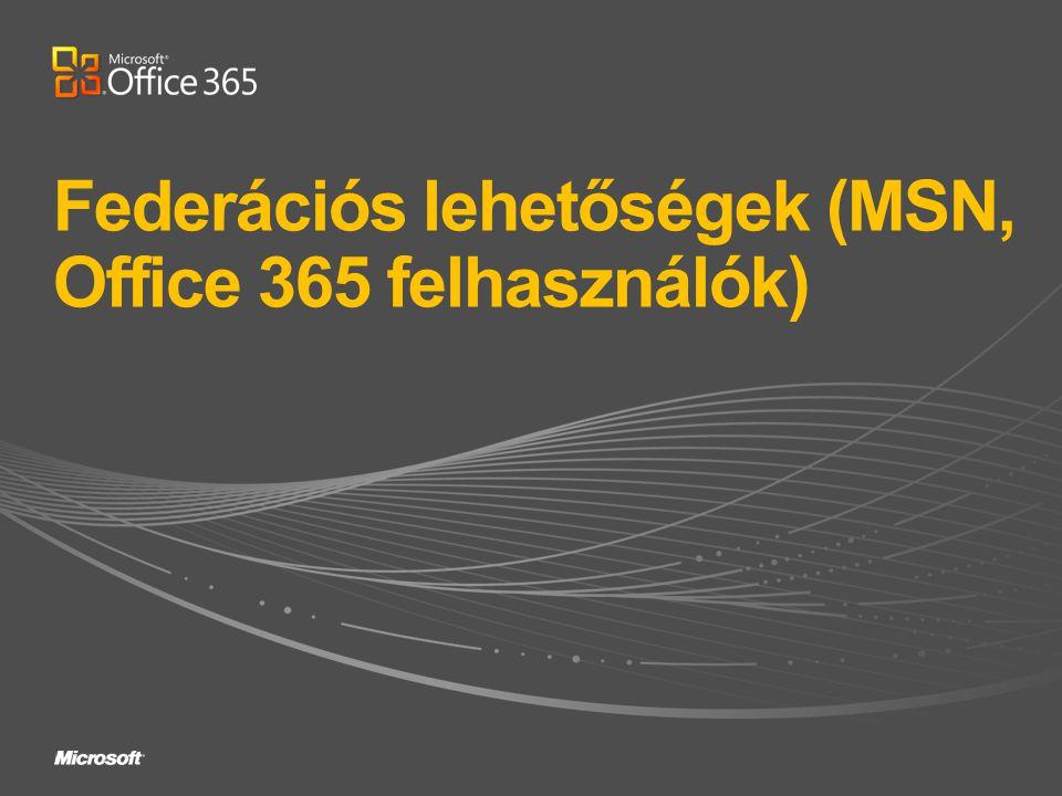 Federációs lehetőségek (MSN, Office 365 felhasználók)