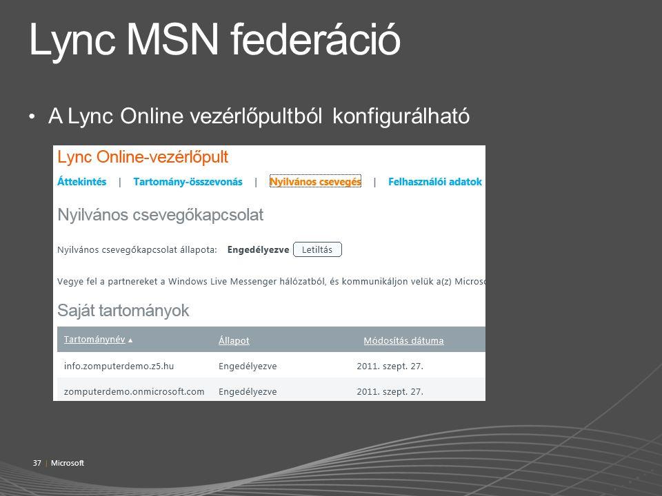 Lync MSN federáció A Lync Online vezérlőpultból konfigurálható