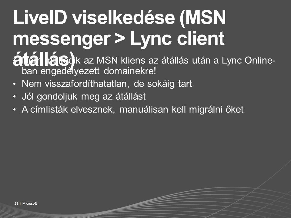 LiveID viselkedése (MSN messenger > Lync client átállás)