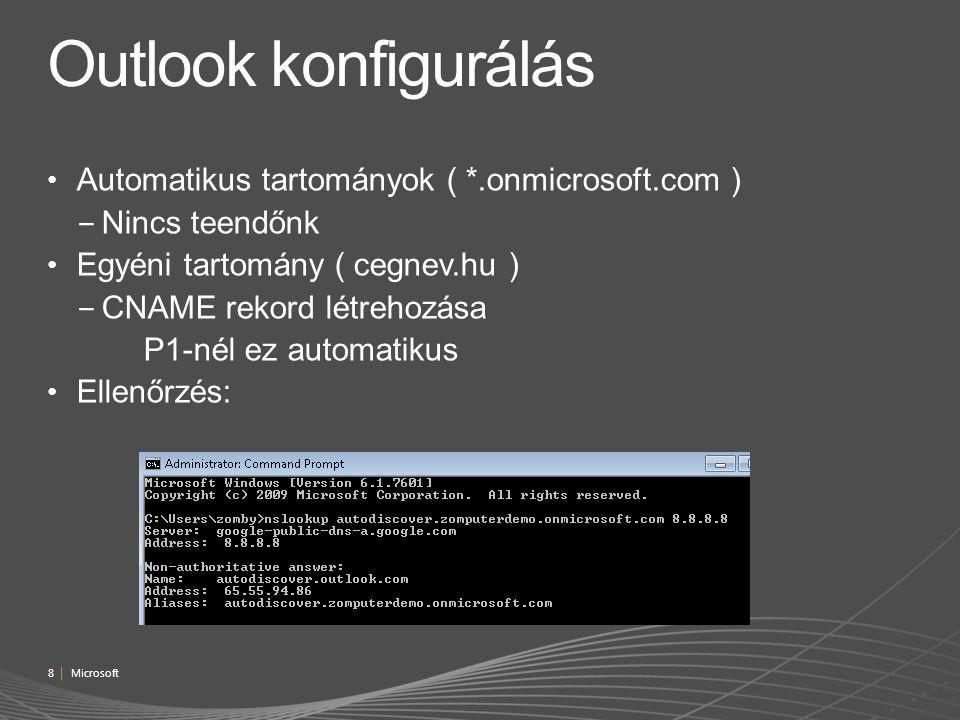 Outlook konfigurálás Automatikus tartományok ( *.onmicrosoft.com )
