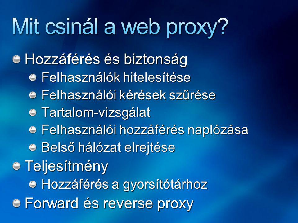 Mit csinál a web proxy Hozzáférés és biztonság Teljesítmény