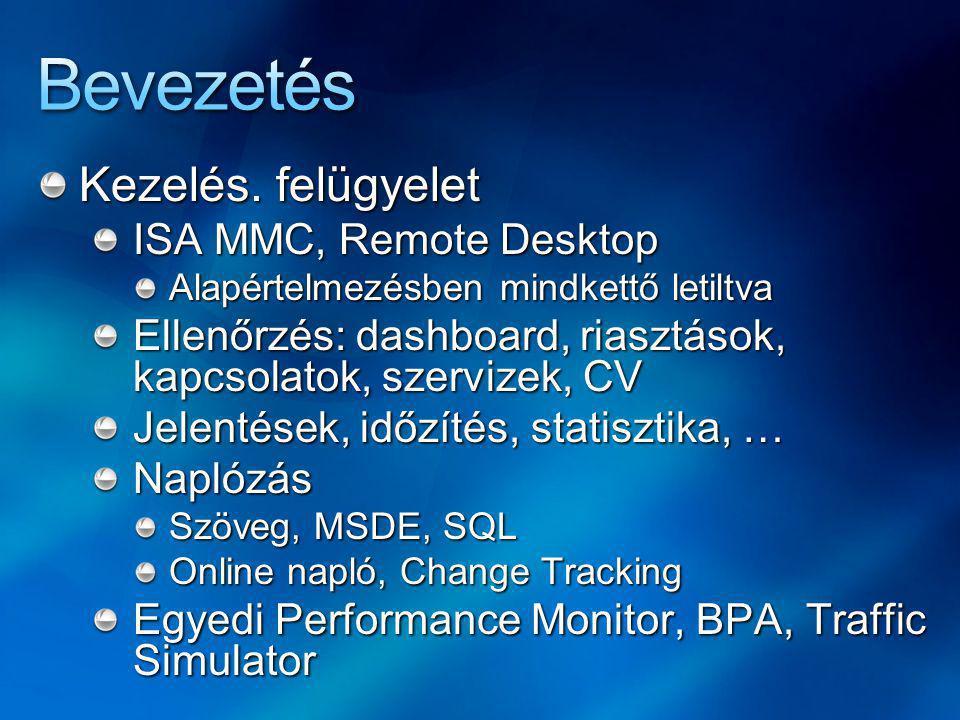 Bevezetés Kezelés. felügyelet ISA MMC, Remote Desktop
