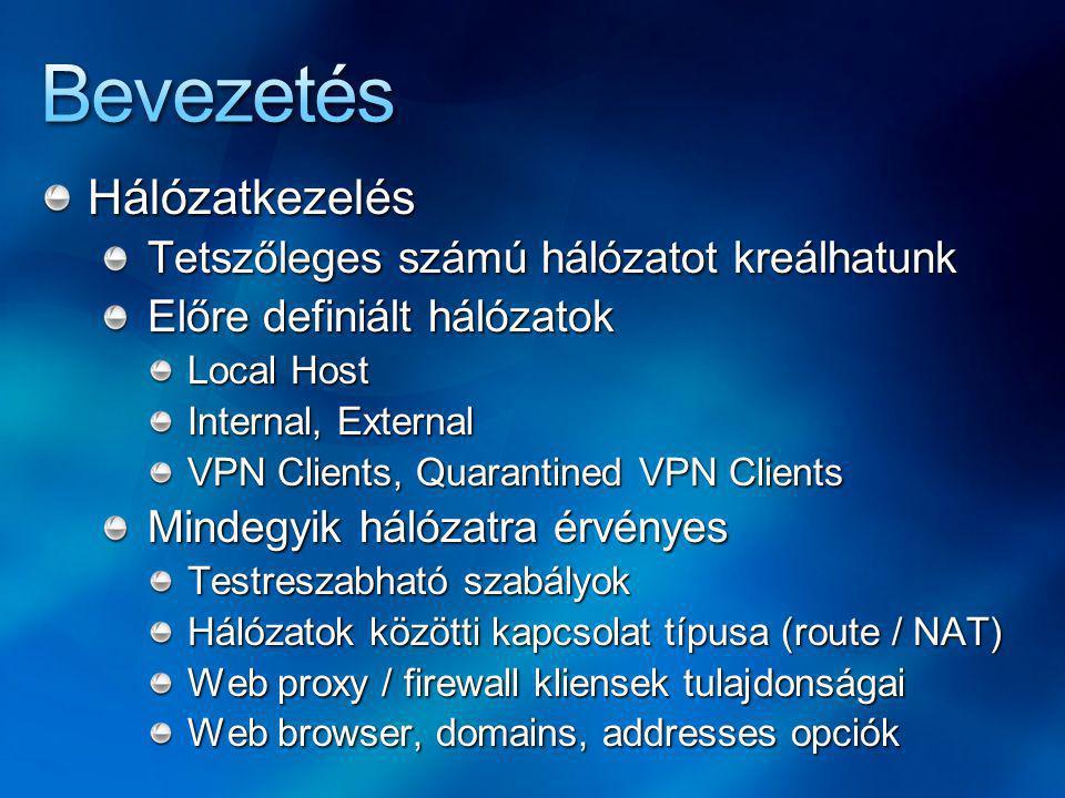 Bevezetés Hálózatkezelés Tetszőleges számú hálózatot kreálhatunk