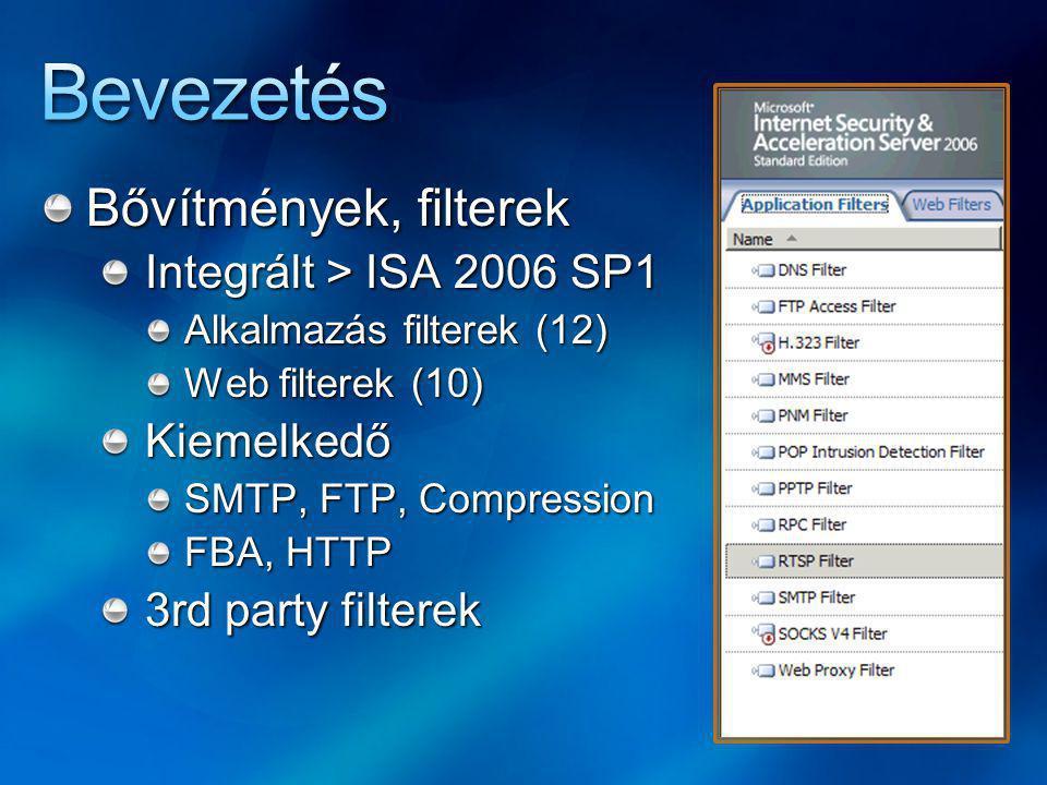 Bevezetés Bővítmények, filterek Integrált > ISA 2006 SP1 Kiemelkedő