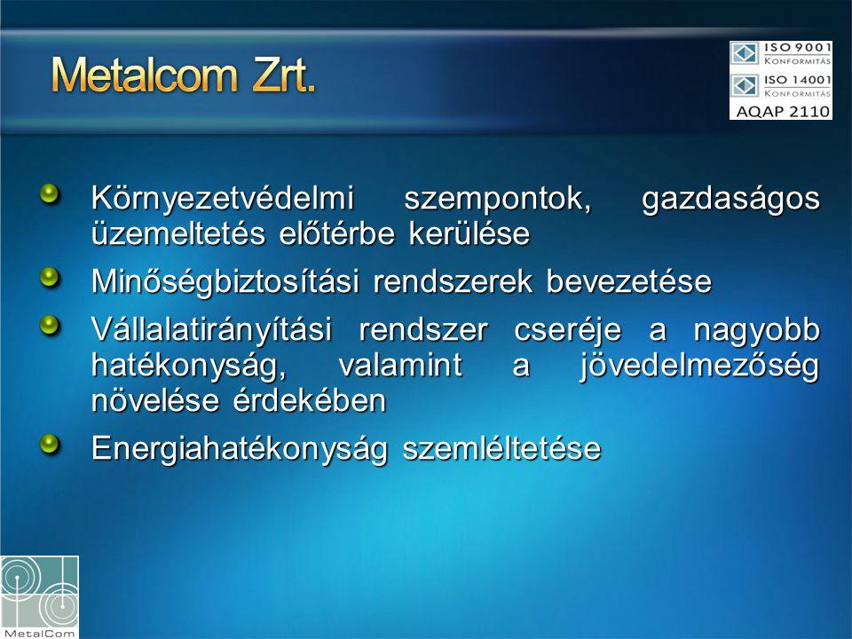 Metalcom Zrt. Környezetvédelmi szempontok, gazdaságos üzemeltetés előtérbe kerülése. Minőségbiztosítási rendszerek bevezetése.