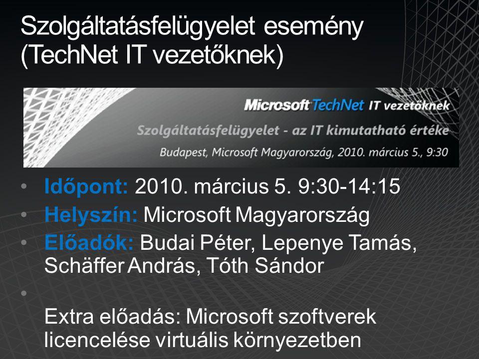 Szolgáltatásfelügyelet esemény (TechNet IT vezetőknek)
