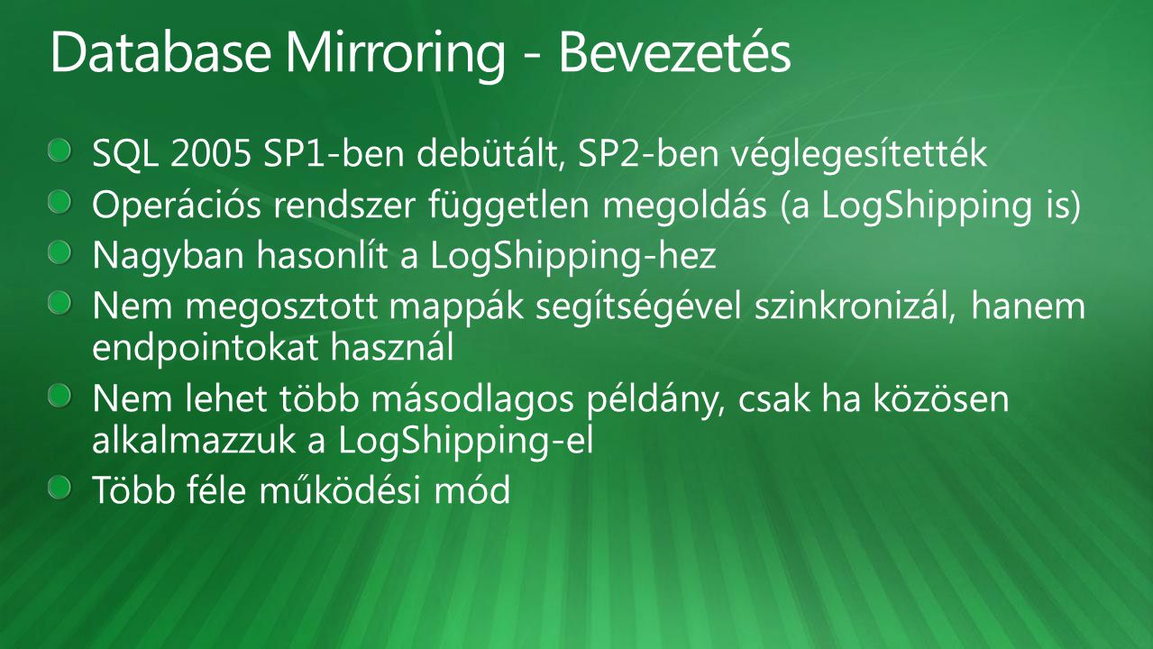 Database Mirroring - Bevezetés