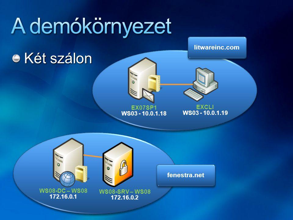 A demókörnyezet Két szálon litwareinc.com fenestra.net EX07SP1 EXCLI