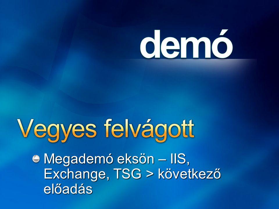 Vegyes felvágott Megademó eksön – IIS, Exchange, TSG > következő előadás