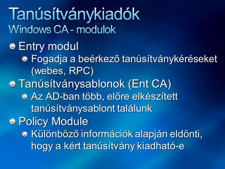 Tanúsítványkiadók Windows CA - modulok