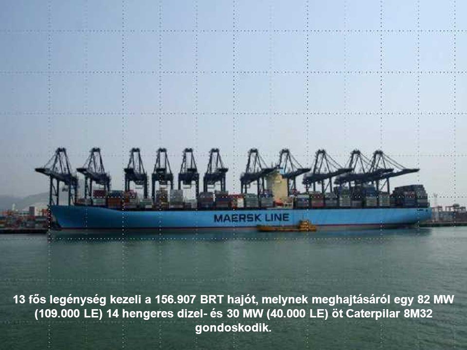 13 fős legénység kezeli a 156.907 BRT hajót, melynek meghajtásáról egy 82 MW (109.000 LE) 14 hengeres dizel- és 30 MW (40.000 LE) öt Caterpilar 8M32 gondoskodik.