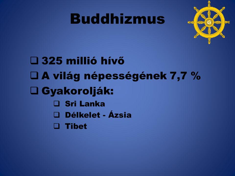 Buddhizmus 325 millió hívő A világ népességének 7,7 % Gyakorolják: