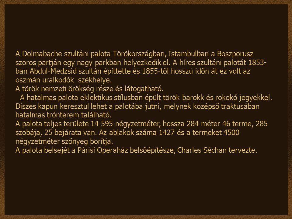 A Dolmabache szultáni palota Törökországban, Istambulban a Boszporusz szoros partján egy nagy parkban helyezkedik el. A híres szultáni palotát 1853-ban Abdul-Medzsid szultán építtette és 1855-től hosszú időn át ez volt az oszmán uralkodók székhelye.