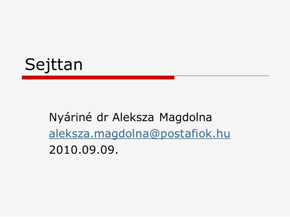 Nyáriné dr Aleksza Magdolna aleksza.magdolna@postafiok.hu 2010.09.09.