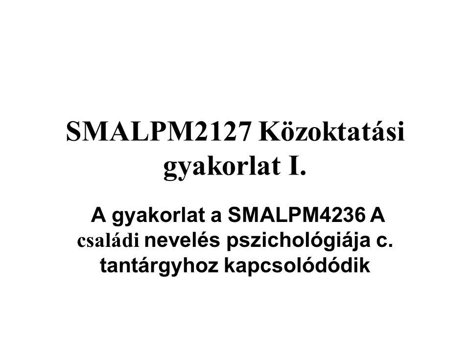 SMALPM2127 Közoktatási gyakorlat I.
