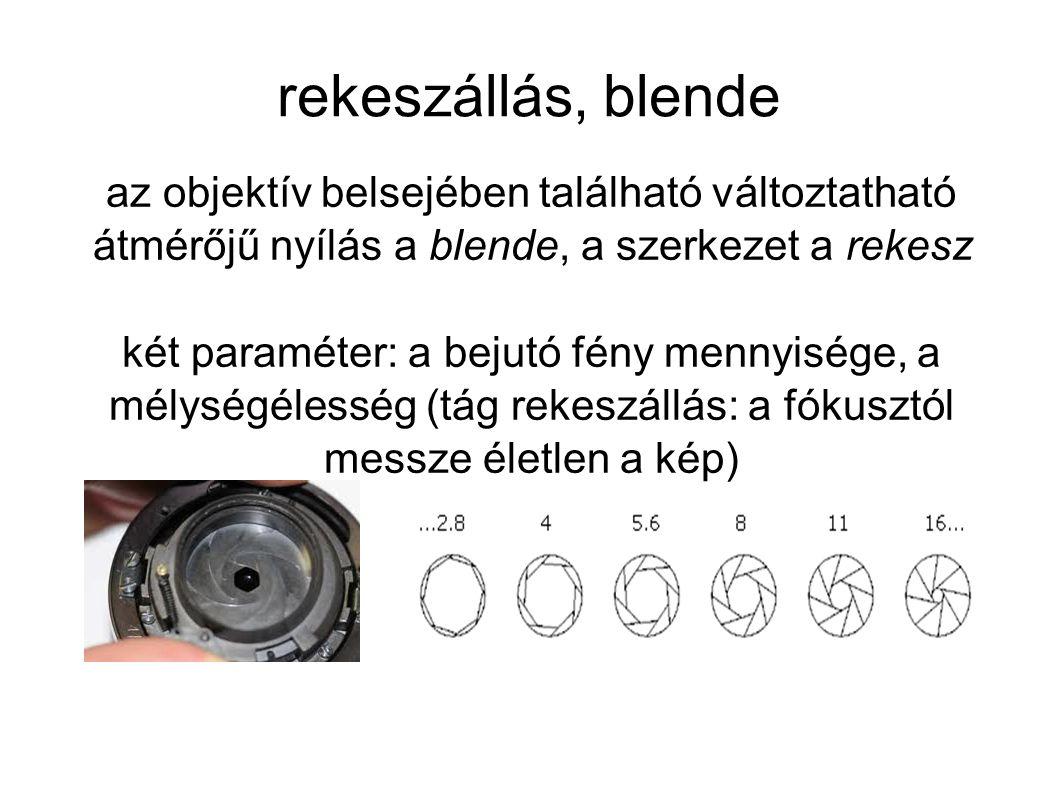 rekeszállás, blende az objektív belsejében található változtatható átmérőjű nyílás a blende, a szerkezet a rekesz.