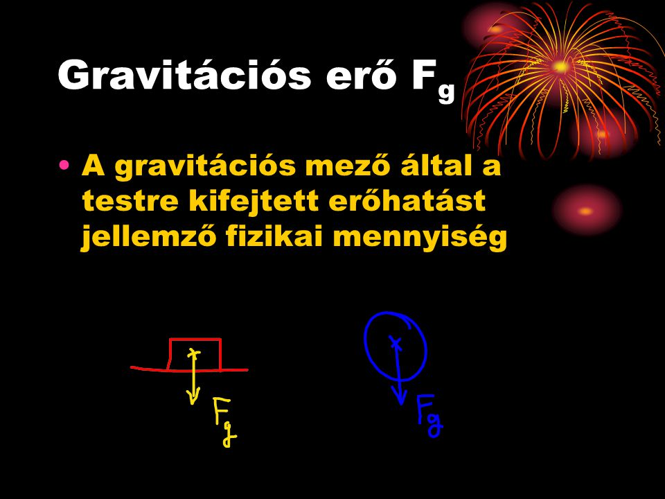 Gravitációs erő Fg A gravitációs mező által a testre kifejtett erőhatást jellemző fizikai mennyiség