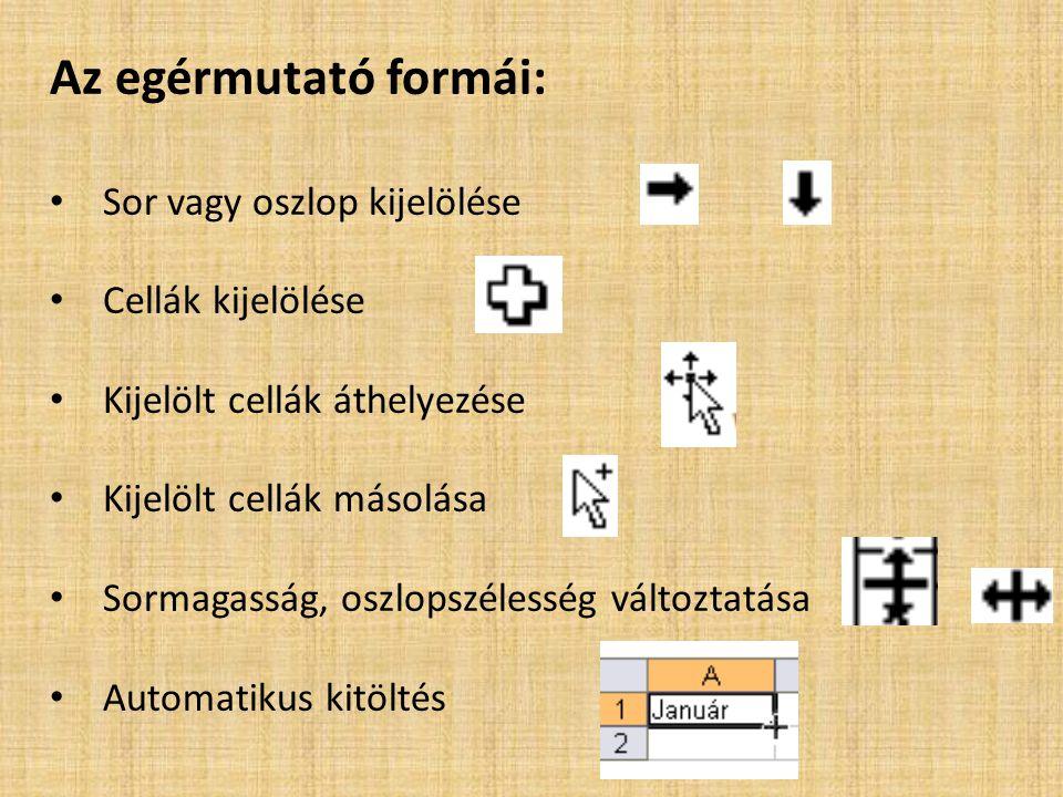 Az egérmutató formái: Sor vagy oszlop kijelölése Cellák kijelölése