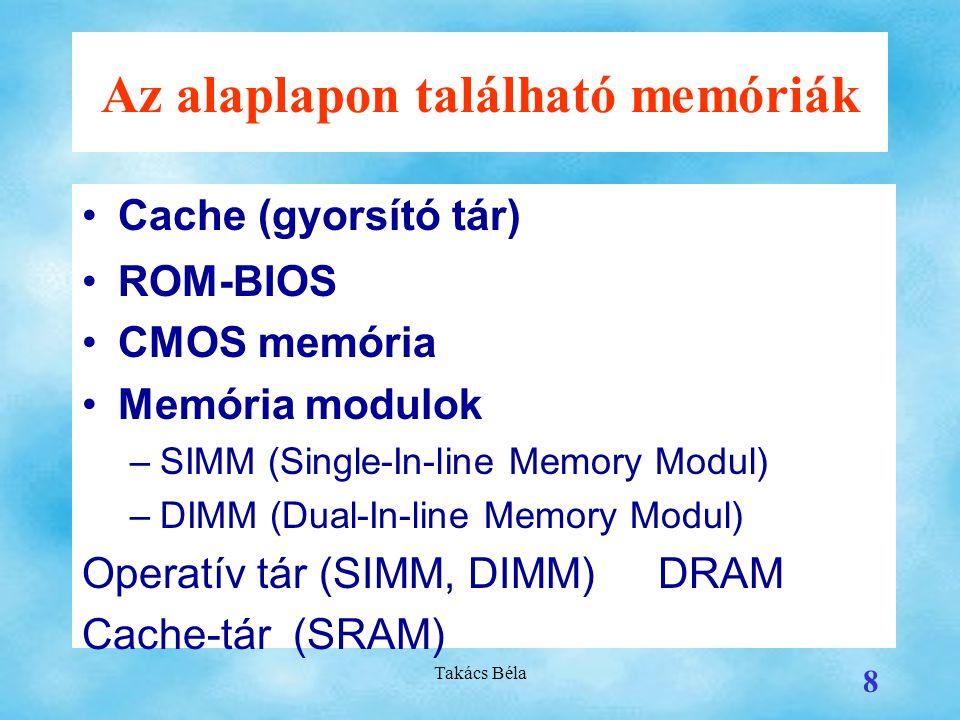 Az alaplapon található memóriák
