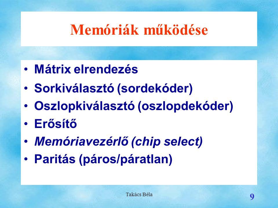Memóriák működése Mátrix elrendezés Sorkiválasztó (sordekóder)