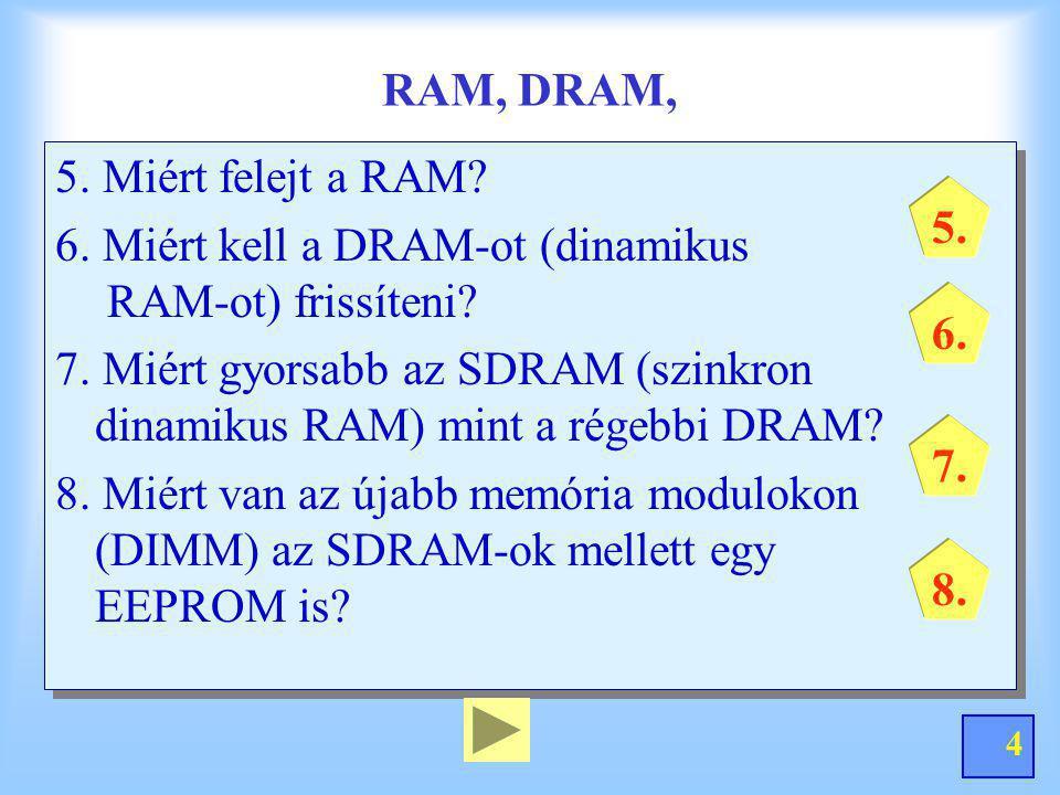 RAM, DRAM, 5. Miért felejt a RAM 6. Miért kell a DRAM-ot (dinamikus RAM-ot) frissíteni
