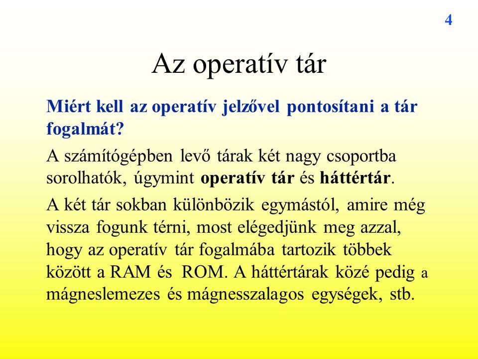 Az operatív tár Miért kell az operatív jelzővel pontosítani a tár fogalmát