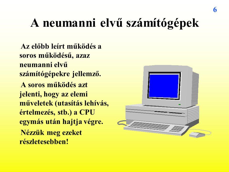A neumanni elvű számítógépek
