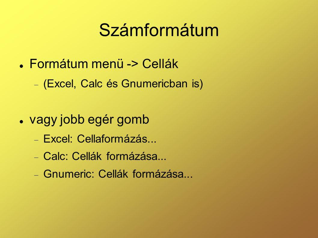 Számformátum Formátum menü -> Cellák vagy jobb egér gomb
