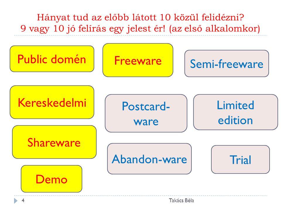 Public domén Freeware Semi-freeware Kereskedelmi Postcard-ware